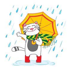 Кот с зонтиком под дождём (Рисунки и иллюстрации) - фри-лансер Люся Коркина [lyusjen].