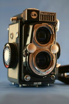 The Yashica 44, 44A, and 44LM were a series of small twin-lens reflex cameras, designed to give 12 exposures of 4x4 cm on 127 rollfilm.  Yashica introduced the model 44 in 1958 as Japan's first 4x4 TLR.[1]. The camera was offered in several color options, but the gray version (no doubt inspired by the gray baby Rolleiflex of 1957) proved to be the most popular. #camera #yashika