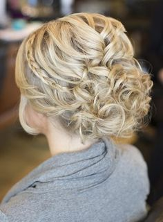 Pulled back curl updo