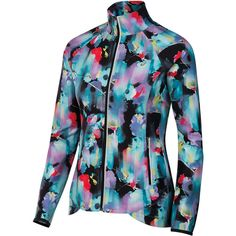 Show up at the club in style in the ASICS Women's Packable Jacket in Inkblot Floral. The full length zipper allows for easy on and off between sets, making this the perfect warm-up jacket for tennis athletes. Not to mention that this beautiful top packs up into its own pocket, adding minimal space and weight into your gym bag. The double front zippered pockets are useful for holding tennis balls, media, and keys, while the high neck keeps you warm without restricting comfort.