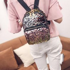 Girls Sequins Backpack Bling Small New Fashion Leather Glitter Women Travel  Bag  SequinsBackpack  Backpack b44e1fdbb0f3