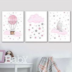 Cloud Balloon Baby Nursery Wall Art Canvas Poster – My Urban One Kids Room Wall Art, Nursery Wall Art, Girl Nursery, Nursery Decor, Bedroom Decor, Nursery Wallpaper, Nursery Themes, Nursery Ideas, Baby Room Design