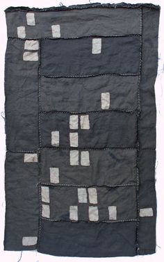 "Cape Coral Foreclosure Quilt, 2011. 30"" x 44"" Recycled bleached linen, recycled string and embroidery on voile. by Kathryn Clark."