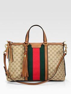Gucci Rania Top Handle Canvas Bag