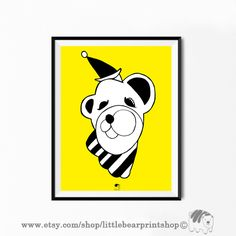 Circus Bear in Yellow Print, Big Poster, Size A2 Digital Download 8.68€. Printable artwork is a beautiful, quick and cost effective way of updating your art. Available on Etsy. ❤️ Bear Print, Yellow Print, Yellow Background, Snoopy, Printable, Etsy Shop, Digital, Big, Handmade Gifts