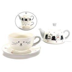set gattoso con teiera tazza e piattino  www.gattosi.com