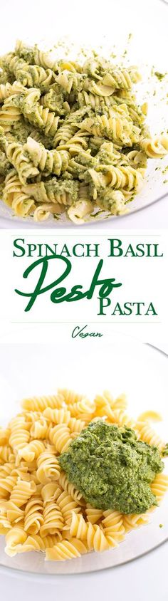 Delicious, Simple and Healthy Spinach Basil Pesto Tossed With Warm Pasta. Vegan. I'm obsessed with pesto