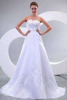 Strapless Elegant White Wedding Gown - Order Link: http://www.theweddingdresses.com/strapless-elegant-white-wedding-gown-twdn0745.html - Embellishments: Embroidery , Beading; Length: Chapel Train; Fabric: Organza; Waist: Natural - Price: 158.78USD