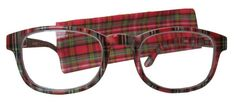 Tartan reading glasses are FINALLY back in stock! My favorite red tartan reading glasses have garnered many oohs and ahhs since I bought them a couple of years ago.  Unfortunately, they've been sold out for months. Now, Amazon has them back– the gorgeous, original red Royal Stewart/Stuart tartan readers and new dark blue and green tartan reading glasses in several strengths. Click for link to buy