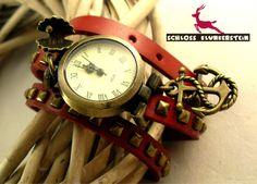 MEHR MEER Nostalgie Wickeluhr Echt Leder Vintage  von Schloss Klunkerstein - Uhren, von Hand gefertigter Unikat - Schmuck aus Naturmaterialien, Medaillons, Steampunk -, Shabby - & Vintage - Schätze, sowie viele einzigartige und liebevolle Geschenke ... auf DaWanda.com