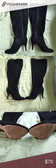 Black over the knee heeled boots wide calf Bought these boots for a party and didn't even wear them out of the house. Scuff marks are from the house. Wide calf, over the knee, 4 inch heels. Smoke free home. Do have a dog and a cat but the boots were in my closet. Open to offers. torrid Shoes Over the Knee Boots