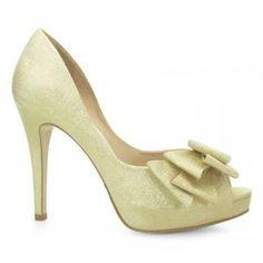 Sapato de Noiva Peep Toe Laura Porto - Dourado - MH736
