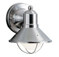 "Brushed Nickel Seaside Single Light 7"" Tall Outdoor Wall Sconce"