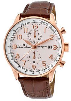 Lucien Piccard 10503-RG-02-BR Watches,Montilla Chronograph Brown Genuine Leather White Dial Rose-Tone Case, Fashion Lucien Piccard Quartz Watches
