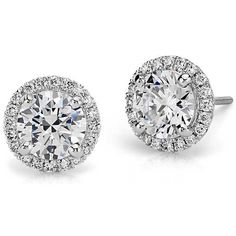 Halo Diamond Earring Setting in Platinum | Something #BlueNile