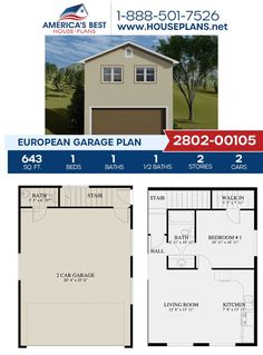 Get to know this European garage design that features 643 sq. ft., 1 bedroom, 1.5 bathrooms, an apartment, an open floor plan, and space for two vehicles. Visit our website for more details about this design. European Plan, European House Plans, Best House Plans, Garage Design, House Design, Floor Plan Drawing, Basement Layout, Cost To Build, Floor Framing