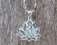Sea Glass Lotus Flower Locket Aqua by Wave of LIfe by WaveofLife