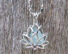 Sea Glass Lotus Flower Locket Aqua by Wave of LIfe by WaveofLife
