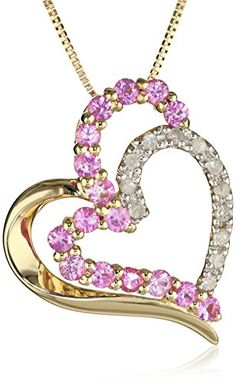10k Yellow Gold Pink Sapphire and Diamond Heart Pendant Necklace