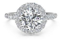 Round French-Set Halo Diamond Band Engagement Ring