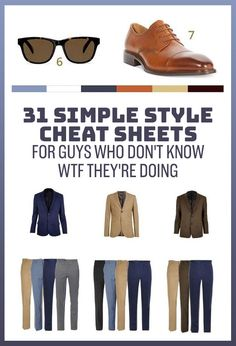 31 Simple Style Cheat Sheets For Guys Who Don't Know WTF They're Doing - Einrichtungsstil Big Men Fashion, Mens Fashion Shoes, Fashion Vintage, Trendy Fashion, Womens Fashion, Mens Style Guide, Men Style Tips, Shoes Without Socks, Herren Outfit