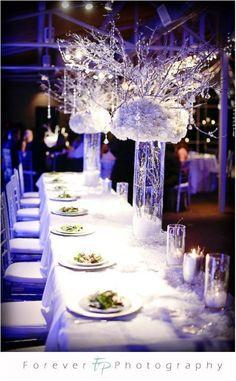 snowy branch centerpiece help needed :  wedding Winter Wonderland Wedding All White Centerpieces