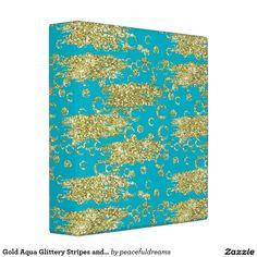 Gold Aqua Glittery Stripes and Circles Vinyl Binders