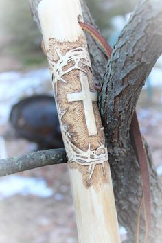 """Hand carved walking stick with """"Crown of Thorns and Cross"""", a GT Originals design."""