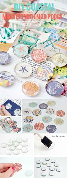Diese DIY-Magnete sind SO einfach mit Decoupage-Medium und Scrapbook-Papier herzustellen! … These DIY magnets are SO easy to make with decoupage medium and scrapbook paper! Cute Crafts, Diy Crafts To Sell, Easy Crafts, Crafts For Kids, Arts And Crafts, Sell Diy, Kids Diy, Summer Crafts, Adult Crafts