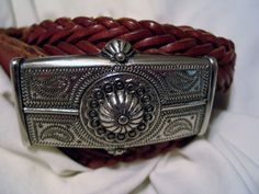 The Limited Southwest Belt Buckle Etched SW Shell Motif Leather Belt  Sz Small  #TheLimited #Casual