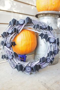 Spooky Bat Upcycled Wreath by BeyondBottles on Etsy, $30.00