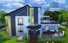 Yellow Rose modern mansion by una at Mod The Sims via Sims 4 Updates