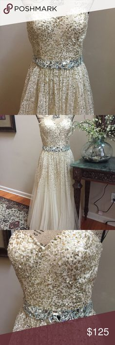 Sherri Hill Prom Dress Stunning Sherri Hill prom dress, strapless champagne colored sequined dress, high waist with glass bead embellished waist, shell is sheer with lining, measurements:  bust 8.5 in, waist 17 in, total length 48in, skirt from waist 39in, Top from waist up 9.5 in, built in bra with pads. Sherri Hill Dresses Prom