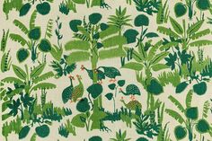Guinea Fowl printed cotton fabric designed by Marie Gudme Leth. Denmark, 1941.