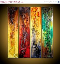 """TITLE ;  TRUTH OF TOUCH  SIZE :  32""""X36""""X1.58""""  4 PANELS OF 8""""X36""""X1.58""""  (RICH TEXTURE ,HIGH GLOSS FINISH )  This Contemporary abstract modern painting was painted on gallery wrapped acid free canvas. Only fine quality art materials have been used.  edges are staple free and painted black. No need to frame. Ready to hang.  Final coat of fine art varnish was applied to preserve YOUR INVESTMENT AGAINST UV AND DUST. Signed and dated by the artist.  This painting is not a print of any kind…"""