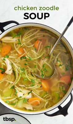 Chicken Zoodle Soup is part of Chicken zoodle soup - This is hands down, the easiest way to eat more vegetables without even trying When classic chicken noodle soup meets zoodles, everyone wins Zoodle Recipes, Spiralizer Recipes, Paleo Recipes, Cooking Recipes, Simple Recipes, Candy Recipes, Gluten Free Recipes Low Carb, Cooking Tips, Low Carb Soup Recipes