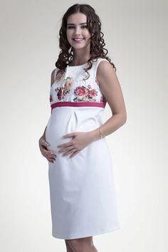 Bílé elegantní těhotenské šaty s motivem květin 7ac827df1f2