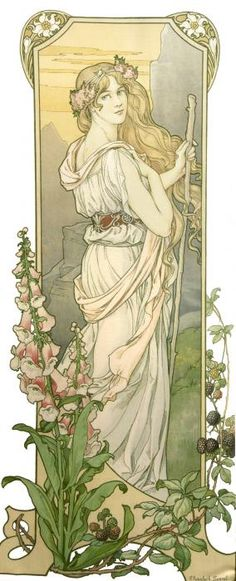 "Mucha Style - "" Illustration in style of ""Alphonse Mucha"" by ""Elisabeth Sonrel Art Nouveau Mucha, Alphonse Mucha Art, Art Nouveau Poster, Design Art Nouveau, Art Design, Art And Illustration, Victorian Illustration, Inspiration Art, Art Inspo"