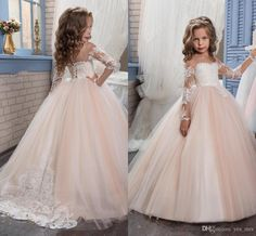 a13b64a3332 2019 New Cheap Flower Girls Dresses For Weddings Jewel Neck Long Sleeves  Lace Blush Pink Birthday Dress Children Party Kids Girl Ball Gowns