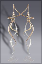 "Harry Mason Three tone spiral earrings in ""Party Streamers"""