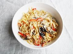 Creamy Spaghetti with Crispy Aubergines and Roasted Red Peppers   Cate in the Kitchen