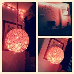 Lamp ... Thread balloon and fevicol ... Home decor ...