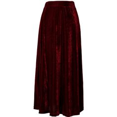 Chicwish Velvet Pleated Maxi Skirt in Wine Red ($42) ❤ liked on Polyvore featuring skirts, bottoms, maxi skirts, long skirts, red, red skirt, ankle length skirt, floor length skirts and long pleated skirt