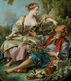 François Boucher - Les Sabots (Art Gallery of Ontario - Toronto (Canada - Toronto)) フランソワ・ブーシェ French Paintings, European Paintings, Classic Paintings, Beautiful Paintings, Art And Illustration, Rococo Painting, Jean Antoine Watteau, French Rococo, Jean Baptiste