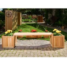 A beautiful focal point for any patio or garden, the All Things Cedar 3 Piece Planter Bench Set shows off your favorite flowers while giving you a comfortable. Planter Bench, Patio Bench, Planter Boxes, Deck Benches, Cedar Bench, Garden Benches, Wood Patio, Patio Stone, Rustic Patio
