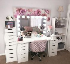 glam beauty Room - Hollywood Makeup Vanity Mirror with Lights-Impressions Vanity Glow Pro Makeup Vanity Mirror with Dimmer Lights for Tabletop or Wall Mounted Vanity Makeup Rooms, Makeup Vanity Mirror With Lights, Makeup Room Decor, Vanity Room, White Makeup Vanity, Mirror Room, White Vanity, Vanity Set Up, Vanity Ideas