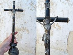 Vintage french crucifix black wood cross by petitbrocante on Etsy, $49.00