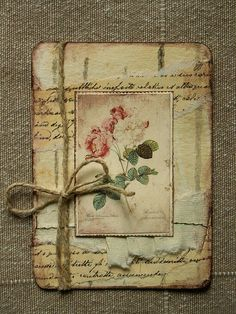 Journal or scrapbook. Would be great to jot garden notes.Well this look perfect for my upcoming scrapbook layout. Shabby Chic Karten, Shabby Chic Cards, Atc Cards, Card Tags, Artist Trading Cards, Flower Cards, Vintage Cards, Vintage Handmade Cards, Vintage Images