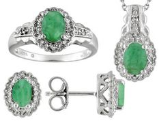 Emerald 2.40ctw With White Topaz .08ctw Sterling Silver Ring, Earrings And Pendant With Chain Set