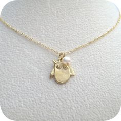 Full Moon Owl - Gold Necklace